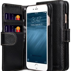 """Melkco Premium Leather Cases for Apple iPhone 7 / 8 (4.7"""") - Wallet Book Type (Black LC)"""
