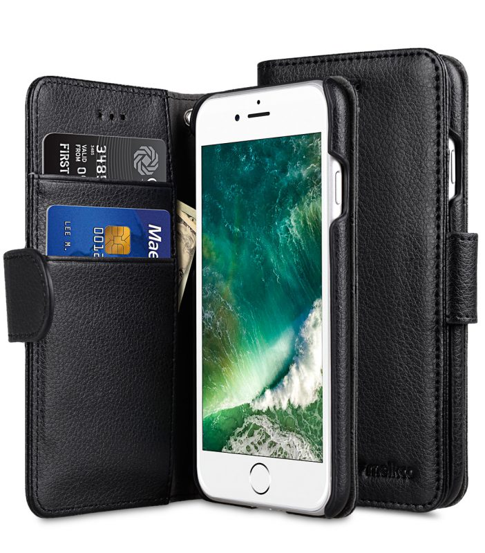 """Melkco Mini PU Leather Case for Apple iPhone 7 / 8 (4.7"""")- Wallet Book Type (Black LC)"""