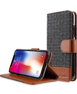 Melkco Holmes Series Find Grid Premium Leather Case for Apple iPhone X - Wallet Book Stand Type (Dark Grey / Brown CH)