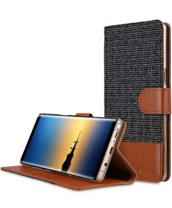 Melkco Holmes Series Find Grid Premium Leather Case for Samsung Galaxy Note 8 - Wallet Book Stand Type (Dark Grey / Brown)