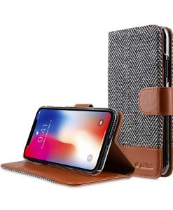 Melkco Holmes Series Twill Cloth Premium Leather Case for Apple iPhone X - Wallet Book Stand Type (Dark Grey / Brown CH)
