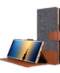 Melkco Holmes Series Twill Cloth Premium Leather Case for Samsung Galaxy Note 8 - Wallet Book Stand Type (Dark Grey / Brown)