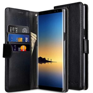 Melkco PU Leather Case for Samsung Galaxy Note 8 - Wallet Book Clear Type (Black PU)