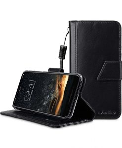Melkco Wallet Book Series Waxfall Premium Leather Kingston Style Case for Apple iPhone X - ( Black WF )