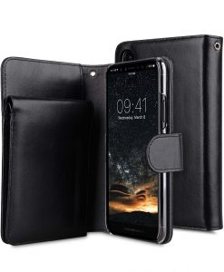 Premium Leather Case for Apple iPhone X - B- Wallet Book Type (Black WF)