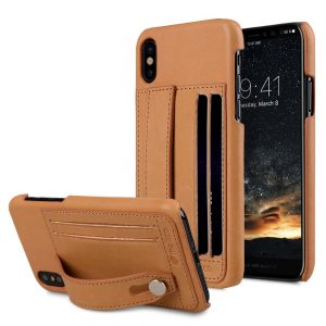 Premium Leather Dual Card slot with stand Case for Apple iPhone X