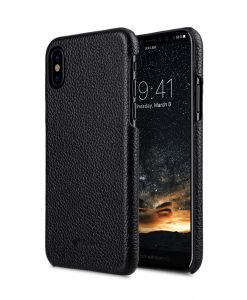 Premium Leather Snap Cover Case for Apple iPhone X - (Black LC)