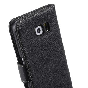 Melkco Premium Leather Cases for Samsung Galaxy S6 Edge - Wallet Book Type (Black LC)