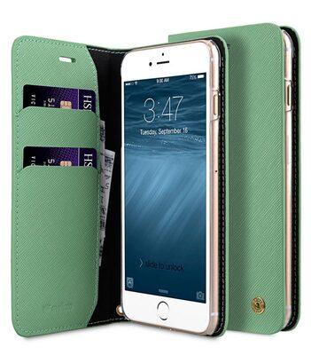 Melkco Fashion Cocktail Series slim Filp Case for Apple iPhone 7 Plus(5.5') (Light Green Cross pattern)