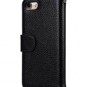 """Melkco Premium Leather Case for Apple iPhone 7 / 8 (4.7"""") – Wallet Book ID Slot Type (Black LC)"""