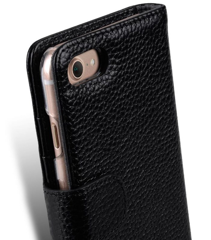 """Melkco Premium Leather Case for Apple iPhone 7 / 8 (4.7"""") - Wallet Book ID Slot Type (Black LC)"""