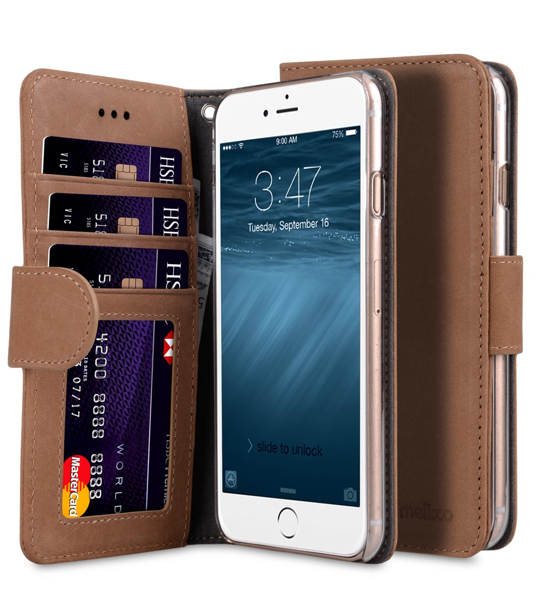 "Melkco Premium Leather Case Wallet Book ID Slot Type for Apple iPhone 7 / 8 (4.7"") (Classic Vintage Brown)"