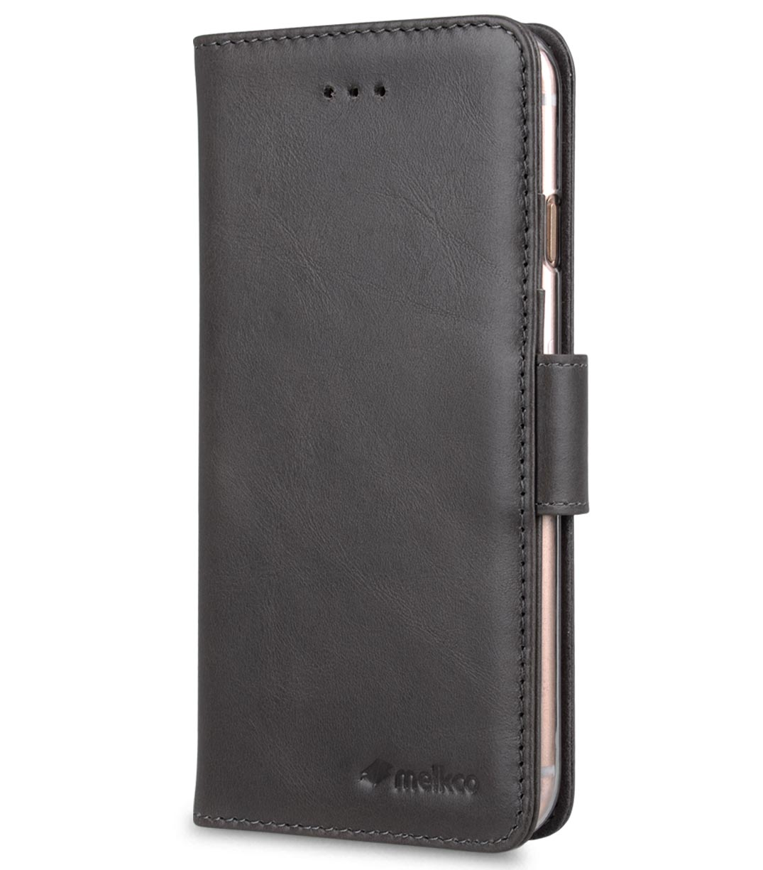 """Melkco Premium Leather Case Wallet Book ID Slot Type for Apple iPhone 7 / 8 (4.7"""") (Grey Wax)"""