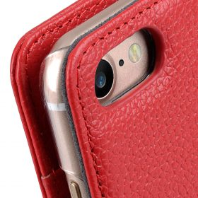 "Melkco Premium Leather Case for Apple iPhone 7 / 8 (4.7"") – Wallet Book ID Slot Type (Red LC)"