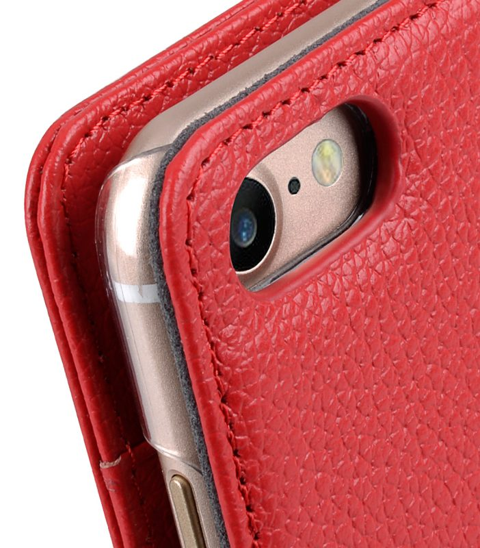 "Melkco Premium Leather Case for Apple iPhone 7 / 8 (4.7"") - Wallet Book ID Slot Type (Red LC)"