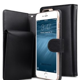 "Melkco Premium Leather Case for Apple iPhone 7 / 8 Plus (5.5"") – B-Wallet Book Type (Black)"