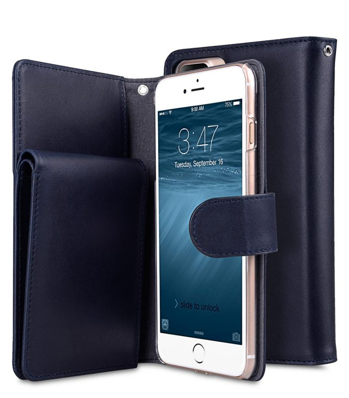 "Melkco Premium Leather Case for Apple iPhone 7 / 8 Plus(5.5"") - B-Wallet Book Type (Dark Blue)"