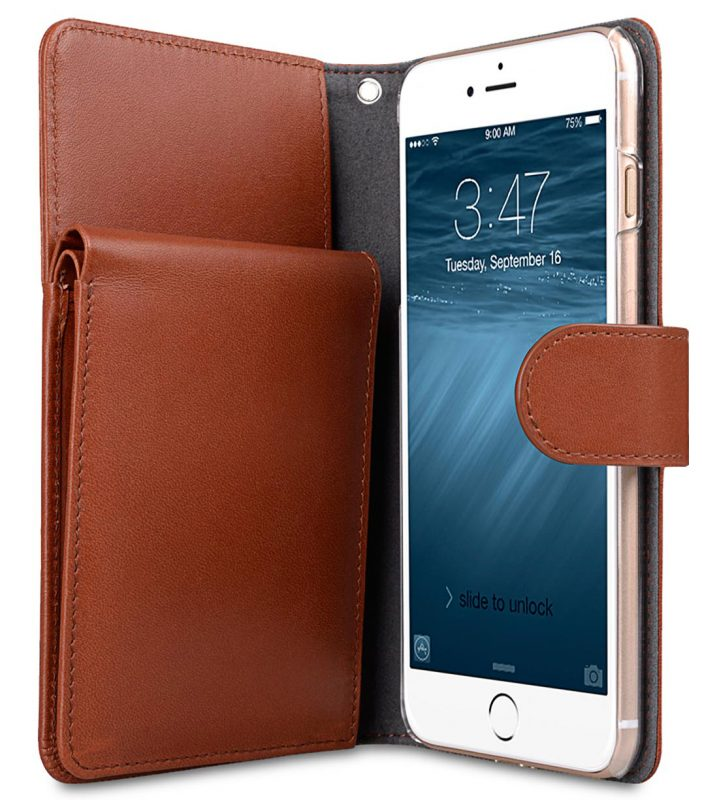 "Melkco Premium Leather Case for Apple iPhone 7 / 8 Plus(5.5"") - B-Wallet Book Type (Orange Brown)"