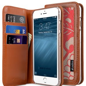 """Melkco Premium Cow Leather Case Heritage Series (Prestige Collection) Book Style for Apple iPhone 6s / 6 - 4.7"""" Case (Brown/Red Chrysanthemum)"""