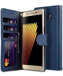 Melkco Premium Leather Case for Samsung Galaxy Note 7 - Wallet Book ID Slot Type (Dark Blue LC)