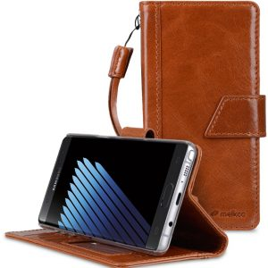 Melkco Premium Italian Genuine Leather Kingston Style Case for Samsung Galaxy Note 7 (Brown Wax)