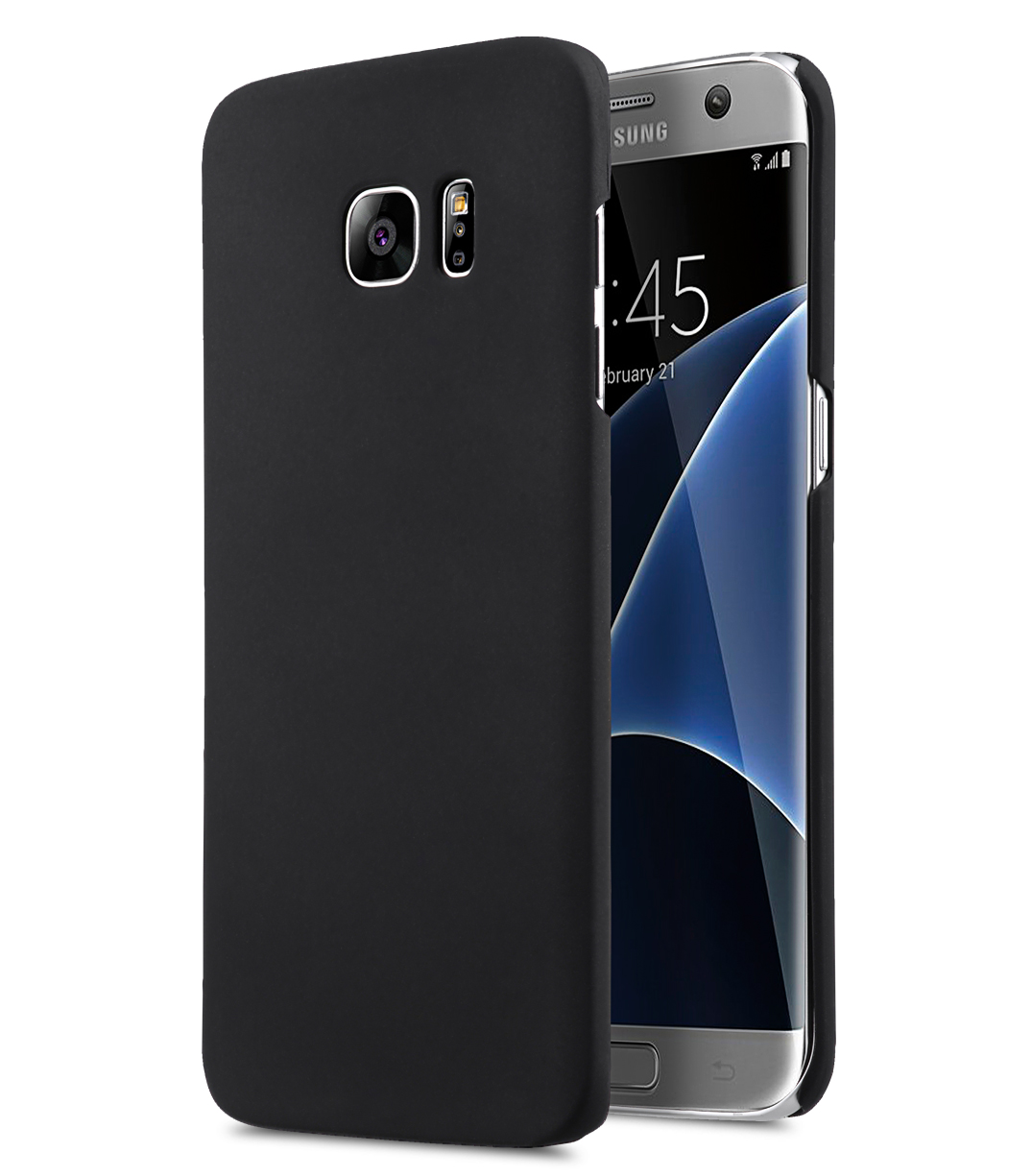 rubberized pc cover for samsung galaxy s7 edge black. Black Bedroom Furniture Sets. Home Design Ideas