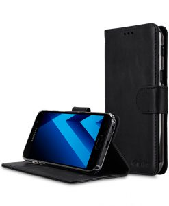 Melkco Premium Leather Case for Samsung Galaxy A5 (2017) - Wallet Book Clear Type Stand ( Vintage Black )