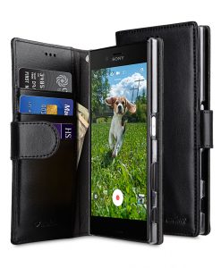Melkco Mini PU Cases Wallet Book Clear Type for Sony Xperia X Z - Black PU