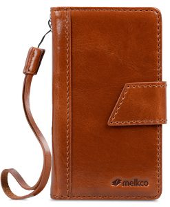 Melkco Premium Genuine Leather Kingston Style Case for Sharp Aquos Compact (SH-02H) - Brown Wax