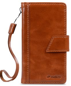 Melkco Premium Genuine Leather Kingston Style Case for Sharp Aquos Crystal Y2 (403SH) - Brown Wax