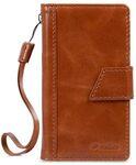 Melkco Premium Genuine Leather Kingston Style Case for Sharp Aquos Series (SHV32) - Brown Wax