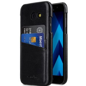 PU Leather Dual Card Slots Case for Samsung Galaxy A7 (2017) - (Black)
