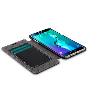 Melkco Premium Leather Case for Samsung Galaxy S6 Edge Plus - Face Cover Book Type (Black LC)