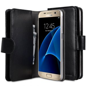 Melkco Mini PU Cases for Samsung Galaxy S7 - Wallet Plus Book Type (Black PU)