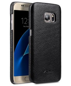 Melkco Premium Genuine Leather Snap Cover Case For Samsung Galaxy S7 (Black LC)