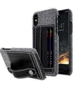 Holmes Series Venis Genuine Leather Dual Card slot with stand Cable for Apple iPhone X