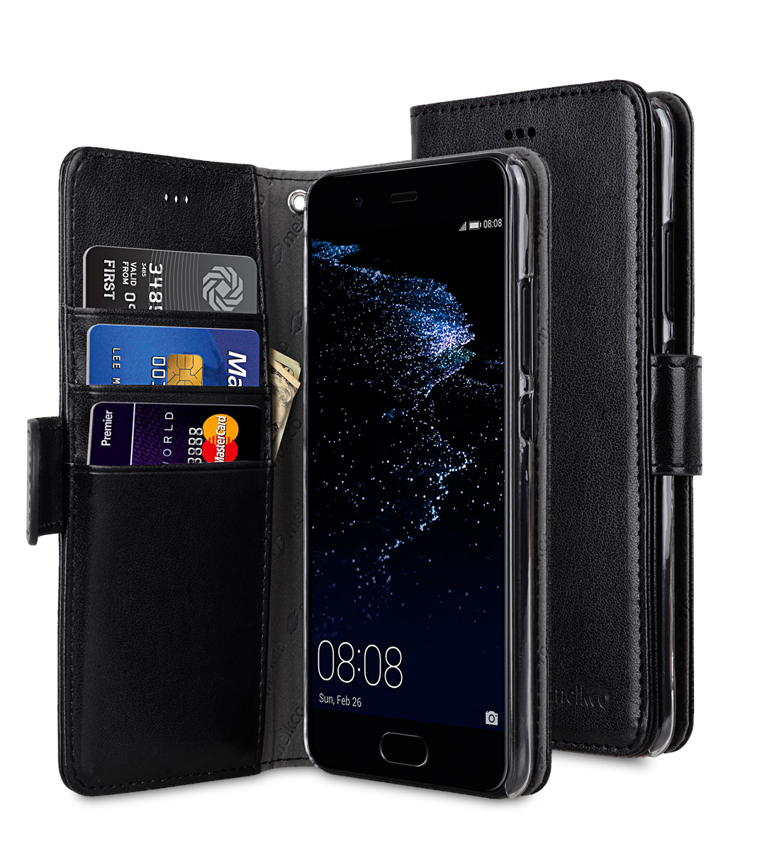 outlet store a85e8 26440 PU Cases Wallet Book Clear Type for Huawei P10 - Black PU