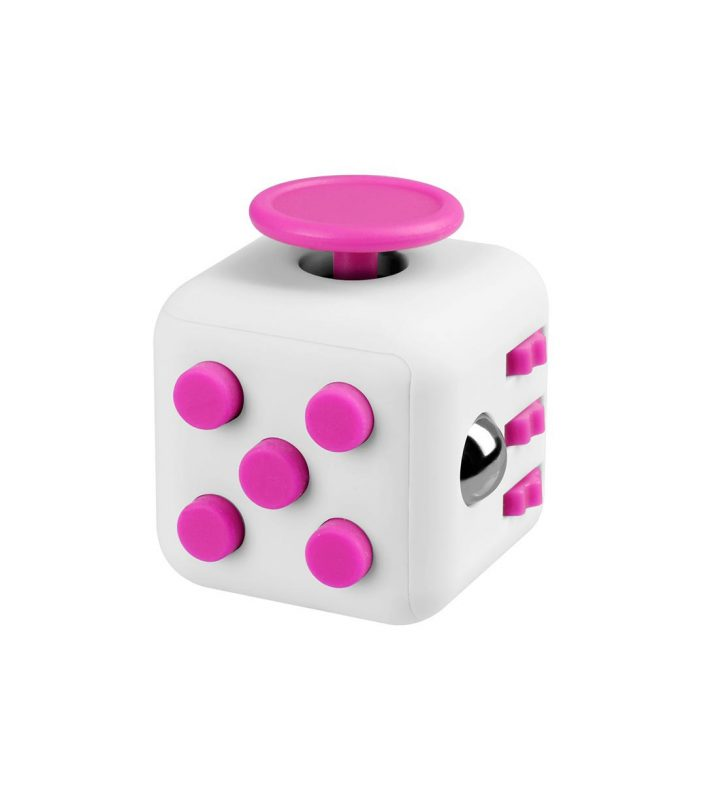 i-mee Stress Relief Fidget Cube - (White/Rose Red)
