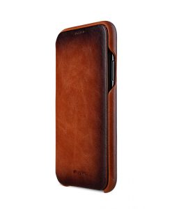 Melkco Elite Series Premium Leather Face Cover Back Slot Case for Apple iPhone X - ( Tan )