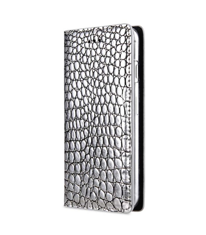 "Melkco Herman Series Crocodile Pattern Genuine Leather Wallet Book Type Case for Apple iPhone 7 / 8 (4.7"") - (Silver CR )"