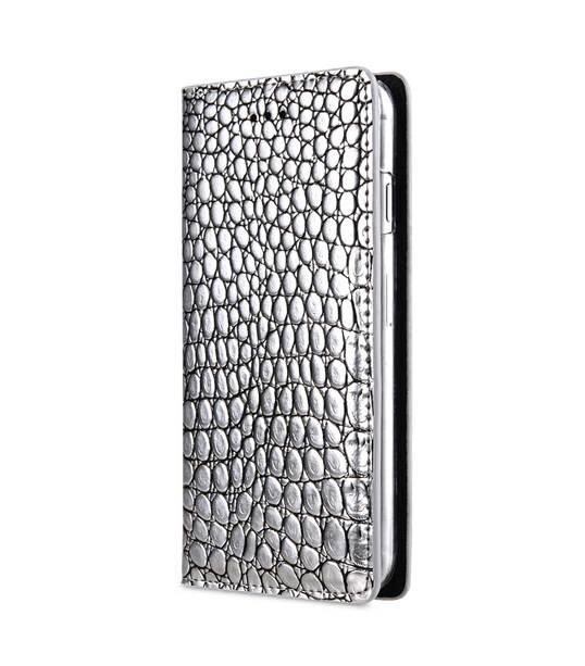 "Melkco Herman Series Crocodile Pattern Genuine Leather Wallet Book Type Case for Apple iPhone 7 / 8 (4.7"") - (Silver CR )"