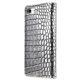 "Melkco Herman Series Crocodile Pattern Genuine Leather Wallet Book Type Case for Apple iPhone 7 / 8 (4.7"") – (Silver CR )"