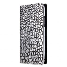 Melkco Herman Series Crocodile Pattern Genuine Leather Wallet Book Type Case for Apple iPhone 8/X – ( Silver CR )