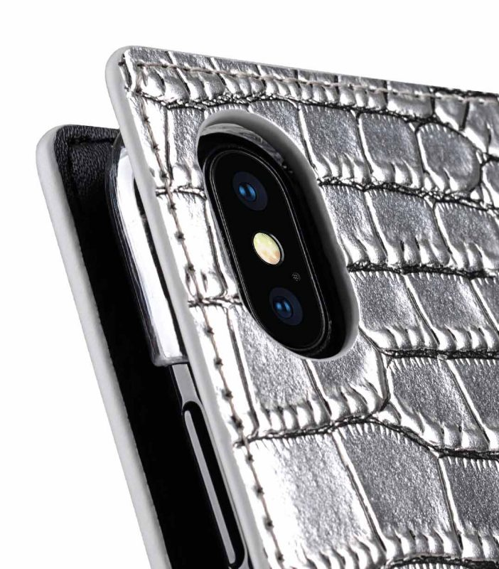 Melkco Herman Series Crocodile Pattern Genuine Leather Wallet Book Type Case for Apple iPhone 8/X - ( Silver CR )