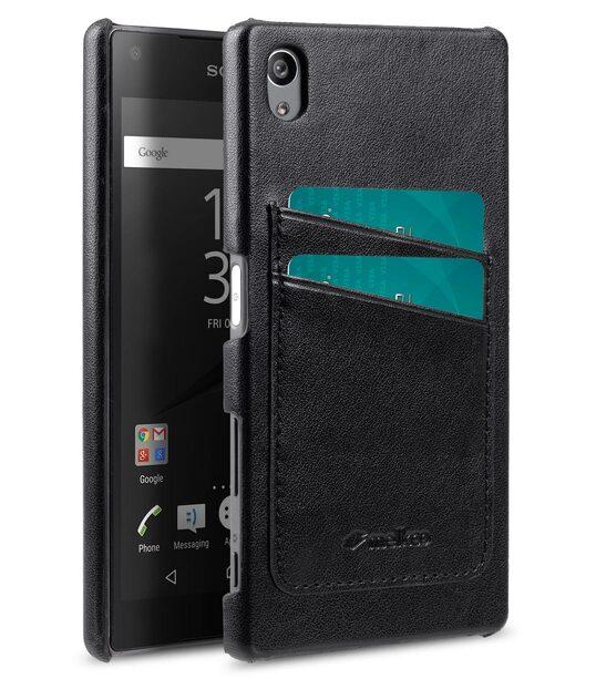 newest 0cf8b aae3d PU card slot back cover for Sony Xperia Z5 – (Dual card slots) – Black PU