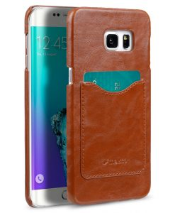Melkco Mini PU Card Slot Snap Cover (Ver.2) for Samsung Galaxy S6 Edge Plus - Traditional Vintage Brown PU