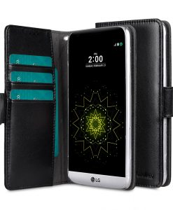Melkco Mini PU Cases for LG G5 - Wallet Book Clear Type (Black PU)