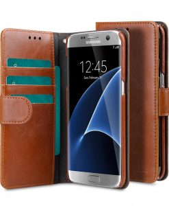 Melkco Mini PU Cases for Samsung Galaxy S7 Edge - Wallet Book Type (Traditional Vintage Brown PU)