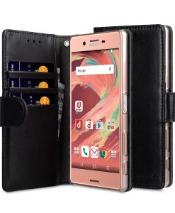Melkco Mini PU Cases for Sony Xperia X - Wallet Book Clear Type (Black PU)