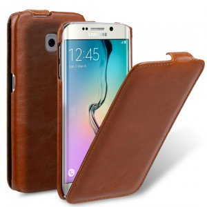 Melkco Mini PU Cases Jacka Type for Samsung Galaxy S6 Edge - Brown PU